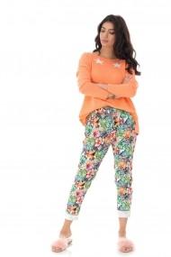 Pantaloni largi Roh Boutique casual cu imprimeu tropical- ROH - TR382