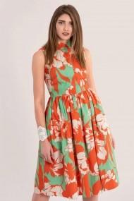 Rochie scurta CLOSET LONDON cu guler inalt DR4162 green, orange