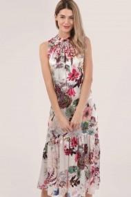 Rochie midi CLOSET LONDON roz fara maneci DR4204 multicolor