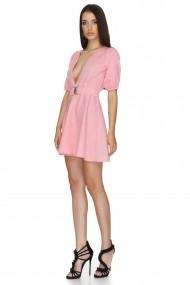 Rochie scurta de zi Cuanna roz model baby doll