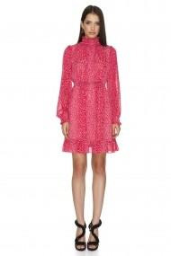 Rochie midi Cuanna roz din voal