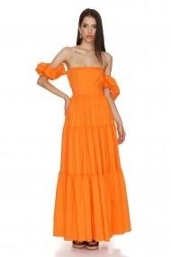 Rochi lunga de zi Cuanna cu volane portocalie