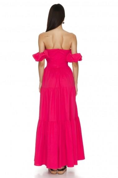 Rochie de zi lunga Cuanna cu volane roz