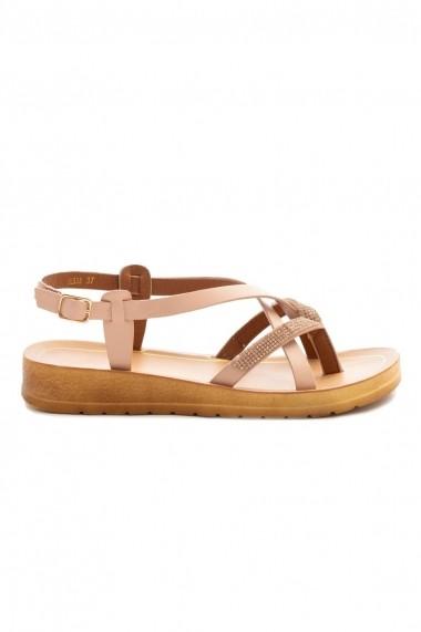 Sandale Rammi roz prafuit cu strasuri fine roz