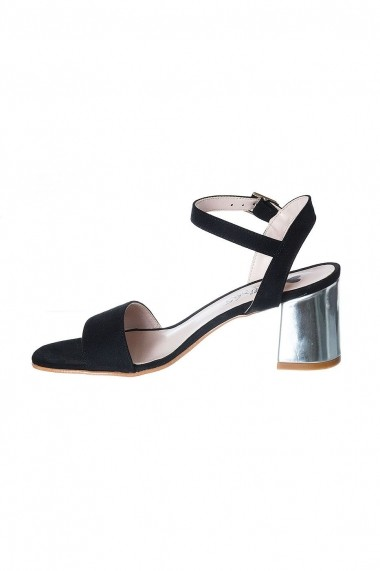 Sandale Rammi din piele naturala cu toc argintiu