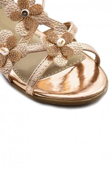 Sandale Rammi rose auriu cu aplicatii florale