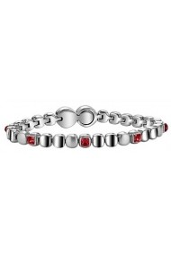 BREIL JEWELS ROLLING DIAMONDS Collection Bracciale in acciaio con cristalli rossi/S/Steel bracelet w. red crystals Size M