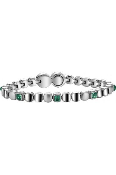 BREIL JEWELS ROLLING DIAMONDS Collection Bracciale in acciaio con cristalli verdi/S/Steel bracelet w. green crystals Size M