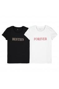 Set 2 tricouri, 10-18 ani La Redoute Collections GHS848 negru