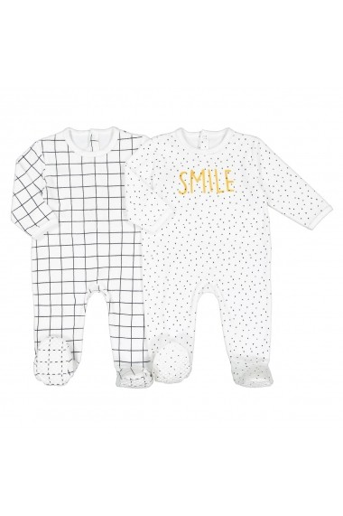 Set 2 pijamale La Redoute Collections GFK174 alb