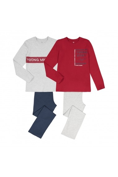 Set 2 pijamale La Redoute Collections GGE248 gri