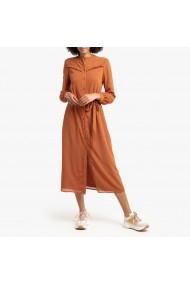 Rochie lunga portocaliecu maneca lunga si cordon detasabil La Redoute Collections GGP756