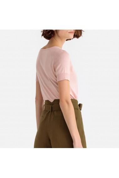 Bluza roz din tricot fin cu maneci scurte La Redoute Collections GFS038