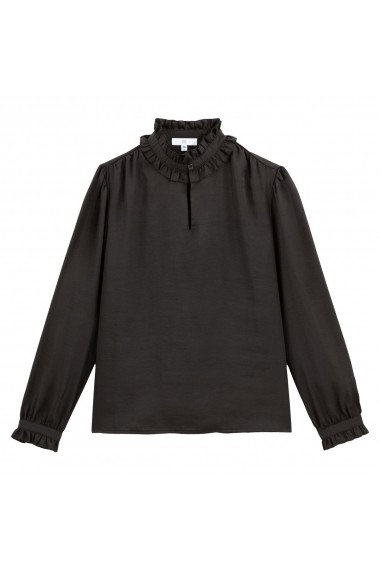 Bluza neagra cu guler inalt, incretit si maneci bufante La Redoute Collections GGQ751