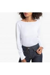 Bluza alba cu guler barcuta si maneci lungi La Redoute Collections GGT956