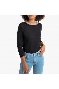 Bluza negra cu maneci lungi si decolteu rotund La Redoute Collections GGT956
