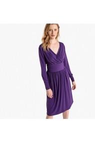 Rochie violet cu maneci lungi si decolteu in V La Redoute Collections GEH147