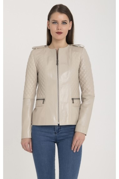 Jacheta din piele Giorgio di Mare GI8519186 Bej