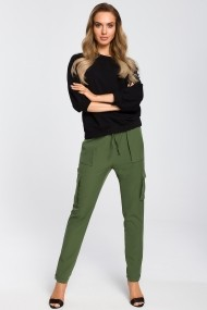 Pantaloni drepti Made of Emotion M425 Verde - els