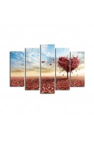 Set 5 tablouri din panza Bonanza ASR-242BNZ4269 Multicolor
