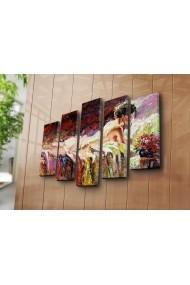 Set 5 tablouri din panza Bonanza ASR-242BNZ4272 Multicolor