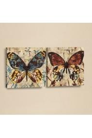 Set 2 tablouri din piele PU Evila Originals 820EVL4345 Multicolor