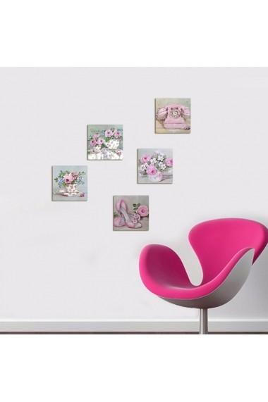Tablou decorativ (5 bucati) Evila Originals 820EVL4566 roz