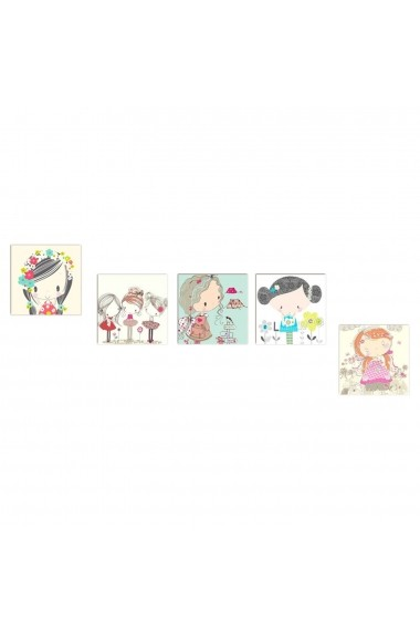 Tablou decorativ (5 bucati) Evila Originals 820EVL4605 multicolor