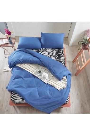 Set lenjerie de pat dublu EnLora Home 162ELR1445 Albastru