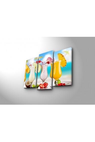 Tablou din panza, cu lumina LED(3 articole) Ledda ASR-254LED3237 Multicolor