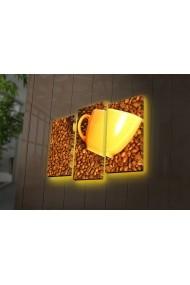 Tablou din panza, cu lumina LED(3 articole) Ledda ASR-254LED4263 Multicolor