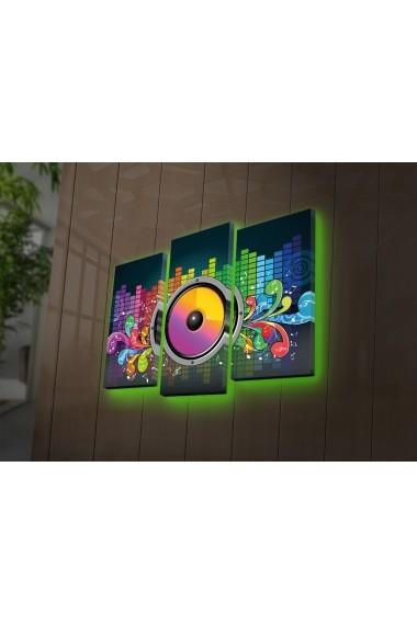 Tablou din panza, cu lumina LED(3 articole) Ledda ASR-254LED4272 Multicolor