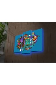 Tablou din panza, cu lumina LED(3 articole) Ledda ASR-254LED4280 Multicolor
