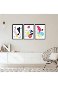 Set 3 tablouri din MDF Alpha Wall 808AWL4850 Multicolor