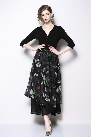 Rochie de zi Kaimilan QK427 Black Multicolor print Multicolor