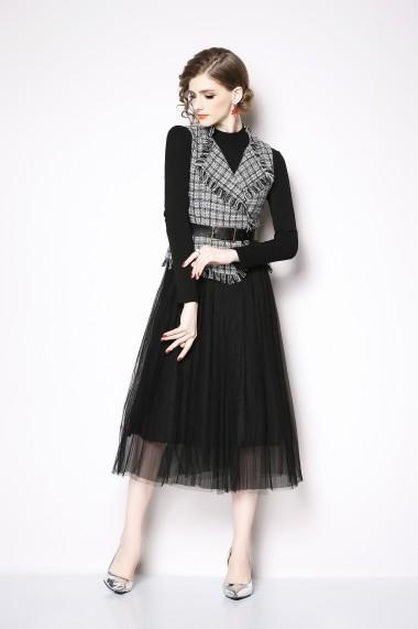 Set rochie si bolero Kaimilan QK437 Black White neagra - els