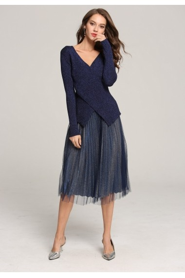 Set bluza si fusta Ferraga QK237 bleumarin