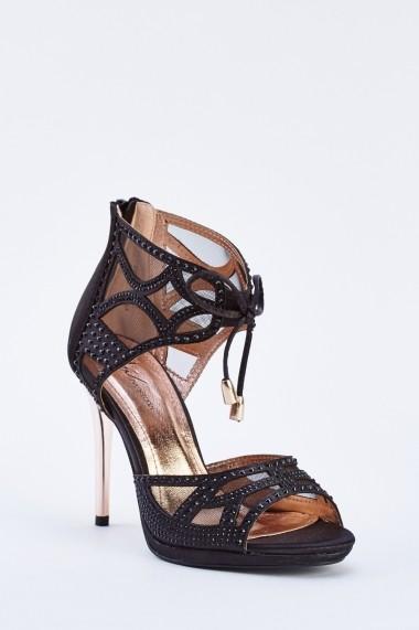 Sandale cu toc 640104-267022 Negru