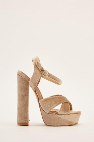 Sandale cu toc 640944-268742 Kaki