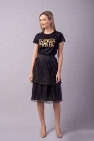 Fusta midi Couture de Marie 0008103 din tulle plisat cu volane Calla Neagra