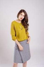 Camasa Couture de Marie cu taietura adanca Golden Lime