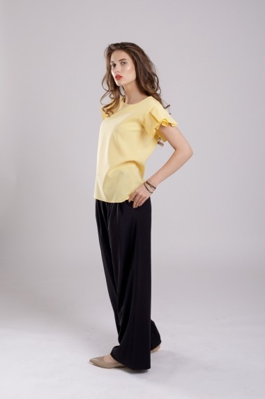 Bluza Couture de Marie cu maneca plisata din bumbac Yellow Fantasy