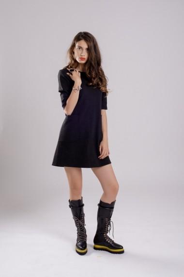 Rochie Couture de Marie A-line cu buzunare Dark Grey