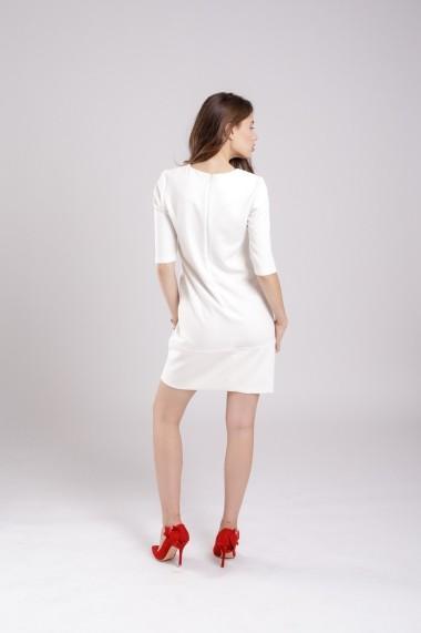 Rochie Couture de Marie dreapta alba cu insertie bleumarin White Hope