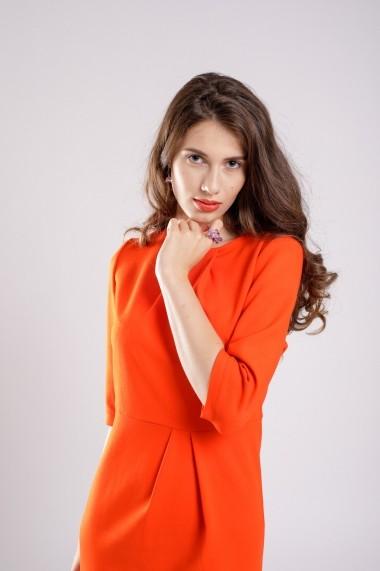Rochie Couture de Marie conica cu pliuri Portocaliu