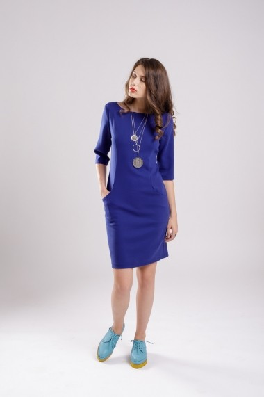 Rochie Couture de Marie dreapta albastra cu buzunare Blue Alert