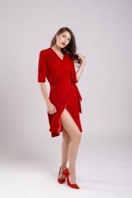 Rochie de seara Couture de Marie din catifea rosie petrecuta Party in Red