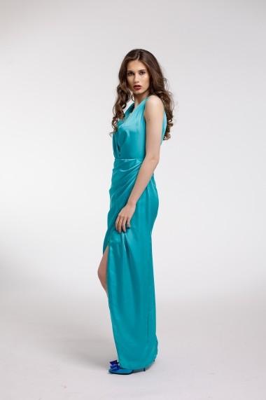 Rochie de seara Couture de Marie Maxi turqoise petrecuta