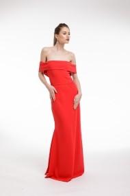 Rochie lunga Couture de Marie rosie cu volan supradimensionat