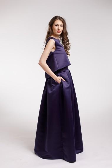 Rochie de seara Couture de Marie din 2 piese din tafta bleumarin